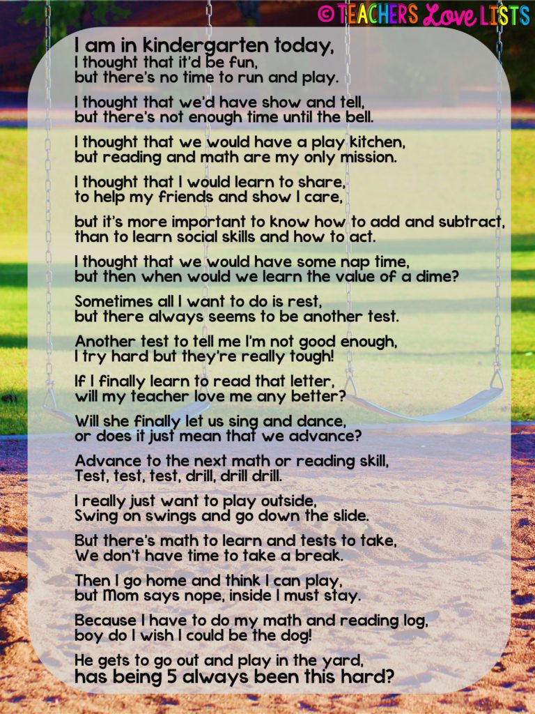 Kindergarten Today Kids Need Recess Poem
